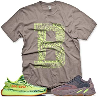 New Brown_B_ BLESSED T Shirt for Adidas Yeezy Boost 700 Mauve 350 Semi Frozen