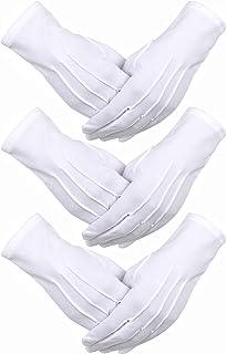 3 Paia Guanti di Cotone Nylon Bianco Parata Costume per la Polizia Formale Smoking Onore Guardia e Occasioni Speciali (3 c...