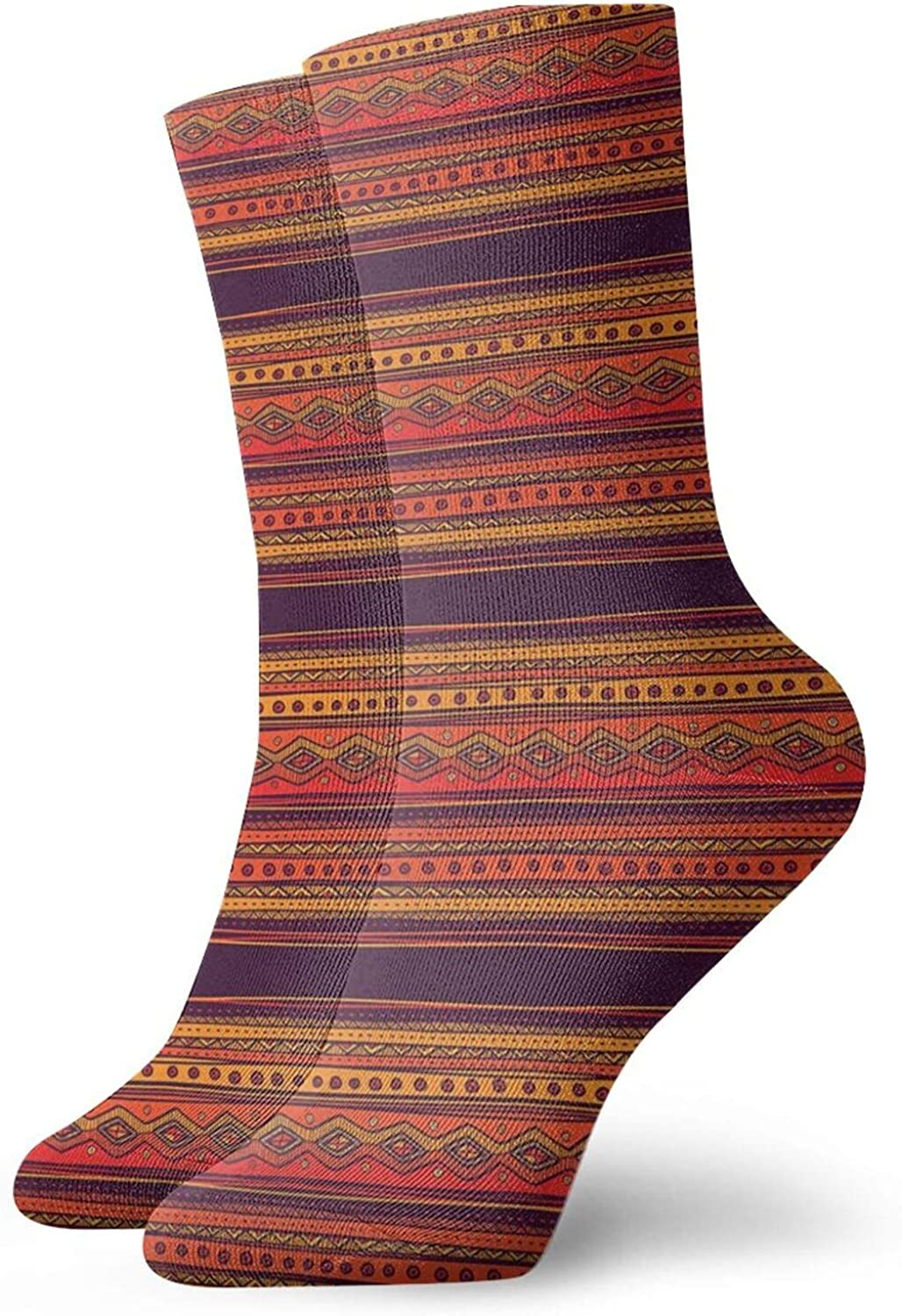 Compression High Socks-Abstract Hand Drawn Ethno Pattern Artistic Tribal Ancient Borders Doodle Style Best for Running,Athletic,Hiking,Travel,Flight