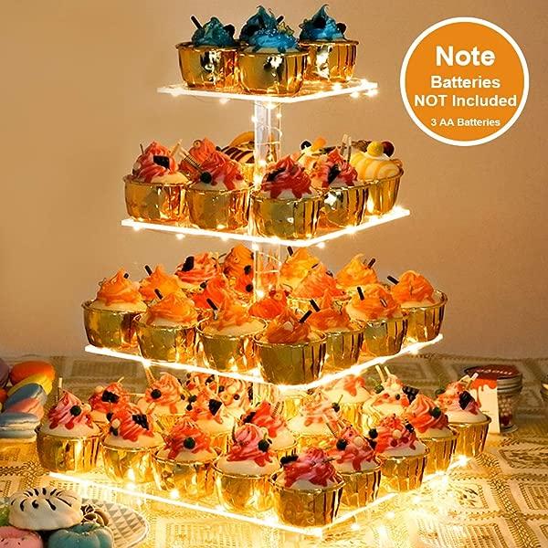 超值蛋糕架亚克力蛋糕架蛋糕塔展示架卡迪巴方 D 心病月层亚克力展示架的糕点 LED 灯串的婚礼生日派对活动
