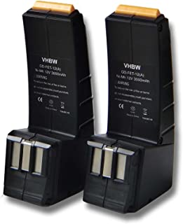 vhbw Set 2x baterías Ni-MH 3000mAh (12V) para herramientas Festo Festool CCD12ES-C, CCD12FX, CCD12MH, CCD12v, CDD12, CDD12E, CDD12ES, CDD12ESC.