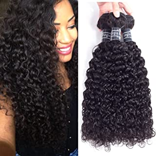 Amella Hair Brazilian Curly Hair Weave 3 Bundles 100% Unprocessed Brazilian Virgin Kinkys Curly Human Hair Extensions Natural Color (10 12 14)