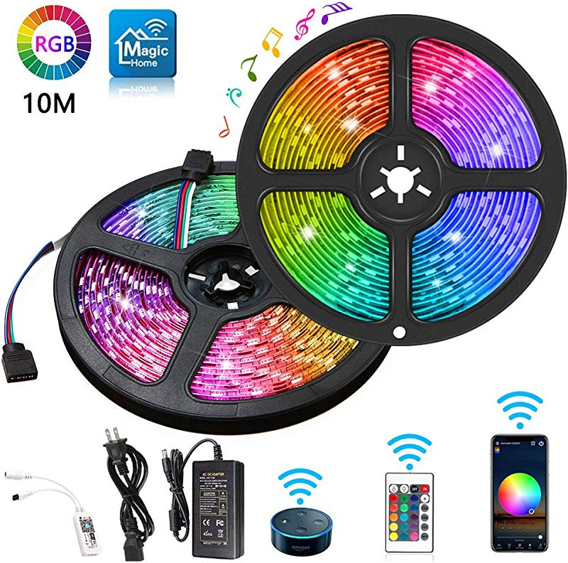 WiFi LED Strips Lights 32 8FT IP65 Waterproof Smart LED Strip Kit RGB LED Strip Lights Music Sync Voice Control Compatible With Alexa Echo Google Assistant Decoration For Home Garden Party Bar