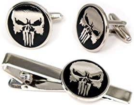 SharedImagination The Punisher Cufflinks, Marvel Defenders Tie Clip, Dare Devil Jewelry, The Avengers Ironman Tie Tack Geek Gifts, Skull Logo Daredevil Cuff Links Wedding Party Groomsmen Gift