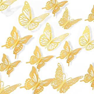 DERAYEE Butterfly Wall Décor, 36 PCS Gold 3D Butterfly Stickers for Room Decor Butterfly Wall Decals for Bedroom,Wedding a...