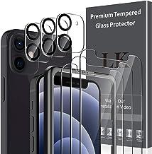 LK 6 Pièces Verre Trempé Compatible avec iPhone 12 Mini (5.4 Pouce),Contenir 3 Pièces Protection écran et 3 Pièces Caméra Arrière Protecteur,Double Protection,Vitre Protection
