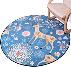 Cartoon Round Carpet for Living Room & Bedroom & Computer Chair & Coffee Table & Swivel Chair Non-Slip Mats Children's Bed...