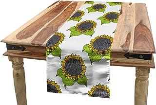 Rettangolare Decorativo per Sala da Pranzo Cucina 40 cm x 180 cm Mela Verde Scuro Talpa ABAKUHAUS Floreale Servizio allAmericana Primavera Girasole Sketch