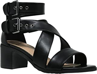 Women's Sandals Strappy Buckle Accent Chunky Block Low Heel Shoes