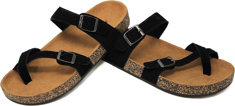 MVE shoes Women's Strappy Buckle Cork Sole Flip-Flop-Sandals