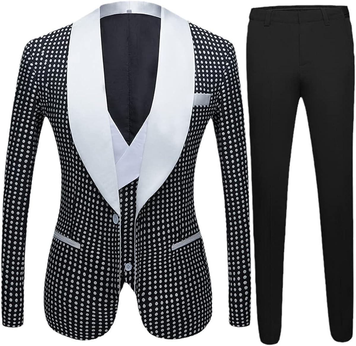 Men's Retro Three-Piece Suit Design Suit Groom Wedding Suit Nightclub Singer Prom Party
