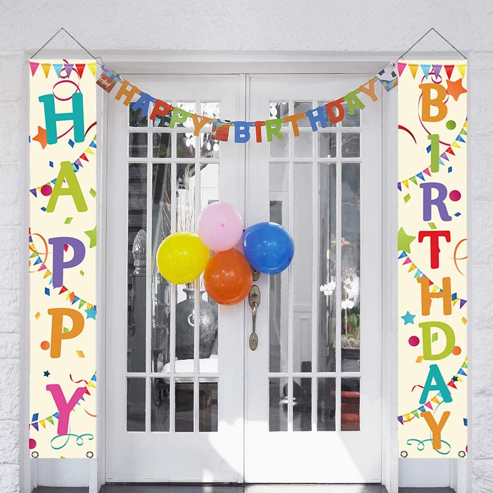 partyGO Colorful Happy Birthday Porch Sign, Banner Decorations f