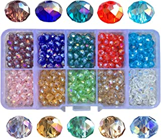 Chengmu 6mm AB Colour Rondelle Glass Beads for Jewelry Making Faceted Briolette Shape 500pcs Multicolor Crystal Spacer Beads for Bracelets Necklaces with Elastic Cord Storage Box