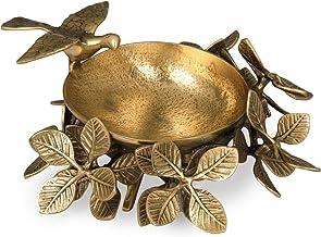 Handmade Urli with a Flying Bird on Leafy Stand (Designer Urli) - Brass Statue