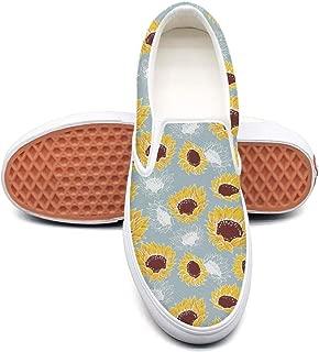 Sunflower Shoes Sneakers for Women Classic Slip-On Skateboarding Shoe White Canvas