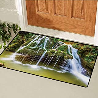 Waterfall Front Door mat Carpet Water Falls to Lake Above Rock Umbrella Covered with Botanic Plants Photo Machine Washable Door mat W19.7 x L31.5 Inch White and Green
