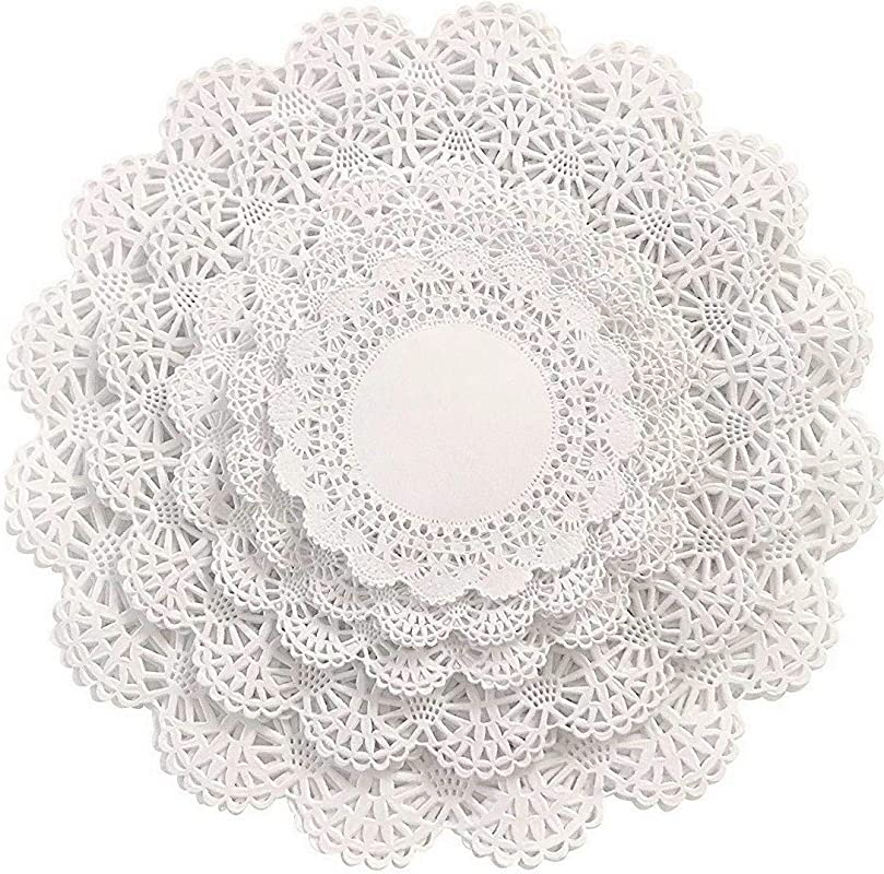 Round Paper Lace Table Doilies 4 5 6 8 And 10 Inches Assorted Sizes White Decorative Tableware Placemats Beautiful Assortment Variety Pack Of 150 30 Of Each