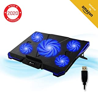 ⭐️KLIM Cyclone Laptop Cooling Pad – 5 Fans Cooler – No More Overheating – Increase Your PC Performance and Life Expectancy – Ventilated Support for Laptop – Gaming Stand to Reduce Heating – Blue