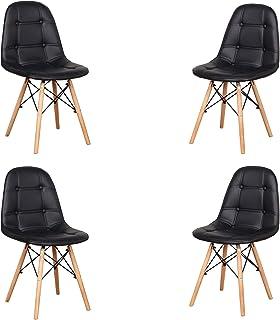 Uderkiny Lot de 4 chaises - Chaise de Salle à Manger avec Dossier en Cuir et Pieds en Bois de hêtre, Convient à la Salle à...