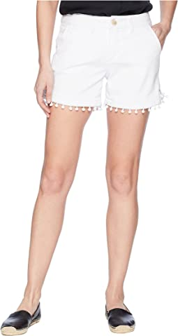 Cadet Shorts with Pom Poms in White