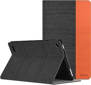 NEW-Fire 7 ケース - ATiC Fire 7 タブレット (Newモデル) 2017/第七世代用 PCバック 開閉式薄型スタンドケース Dark Gray+Orange