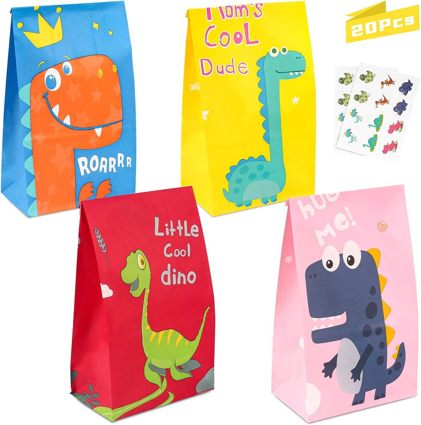 Bolsa de Dulces de Dinosaurio, Bolsa de Papel Dinosaurio 20pcs, Bolsa de Regalo Cumpleaños, Bolsas de Candy, Papel Regalo Bolsas para Niños Suministros Fiesta