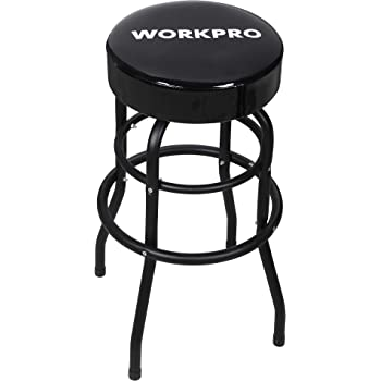 WORKPRO Shop Stool Bar Stool with Padded Swivel Shop Seat, Black, W112012A