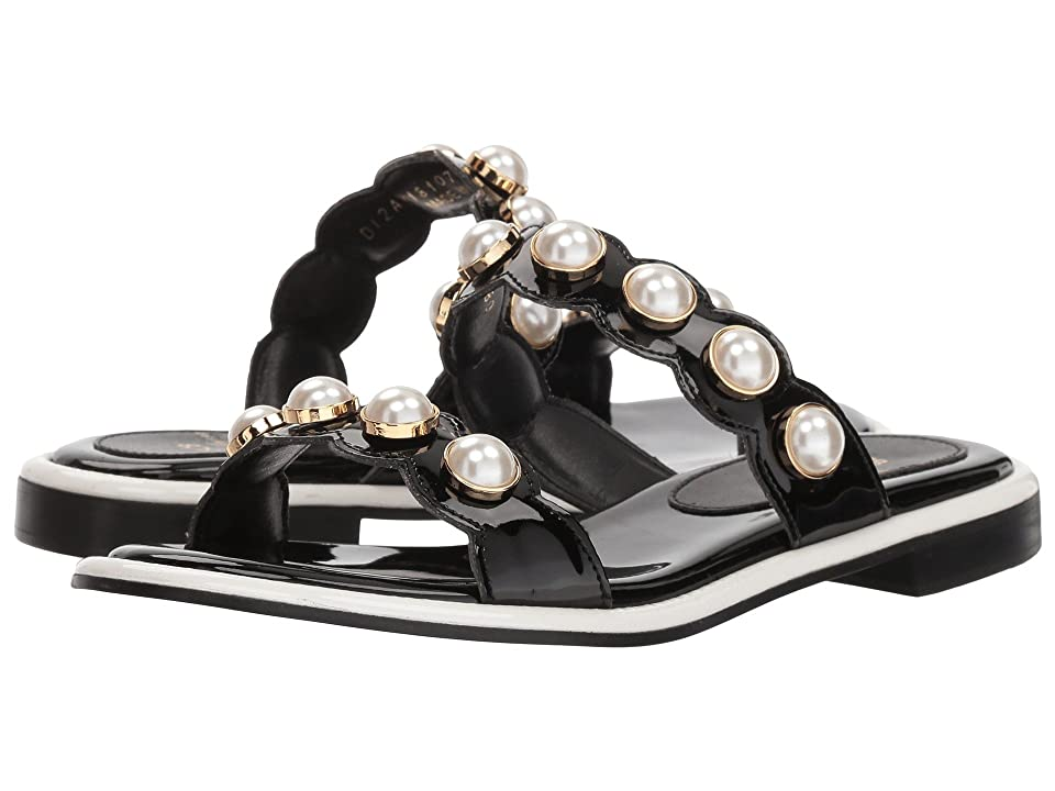 Suecomma Bonnie Pearl Ornament Flat Sandals (Black) Women