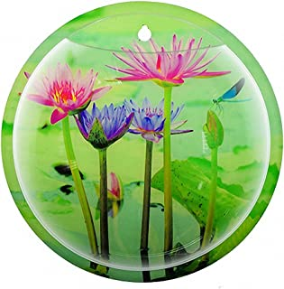 Sea World Creative Acrylic Hanging Wall Mount Fish Tank Bowl Vase Aquarium Plant Pot Fish Bubble Aquarium Decor for Home and Office