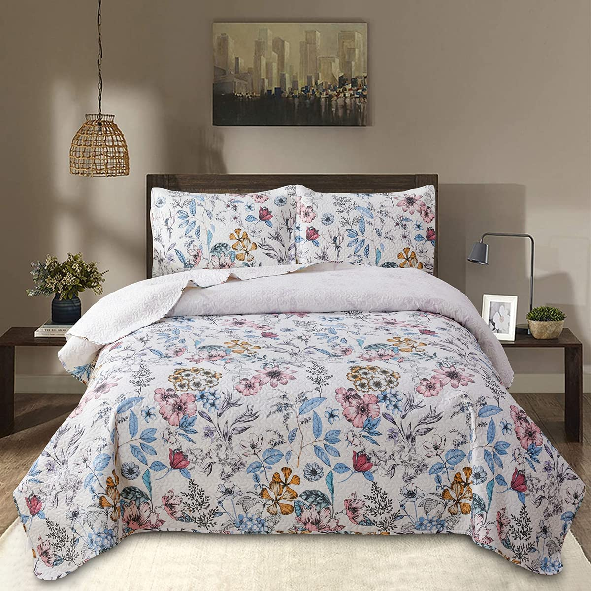 3 Piece Quilt Bedding Floral Bed Set スーパーセール for 国内送料無料 Queen Reversible