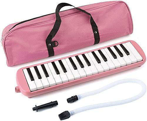 Azul 32 teclas estilo piano mel/ódica mel/ódica de tubo largo con bolsa de transporte para ni/ños principiantes adultos regalo