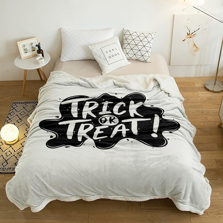 San Jose Mall Sherpa Throw Blanket White Texts Trick Halloween Ranking TOP11 Theme Treat Or