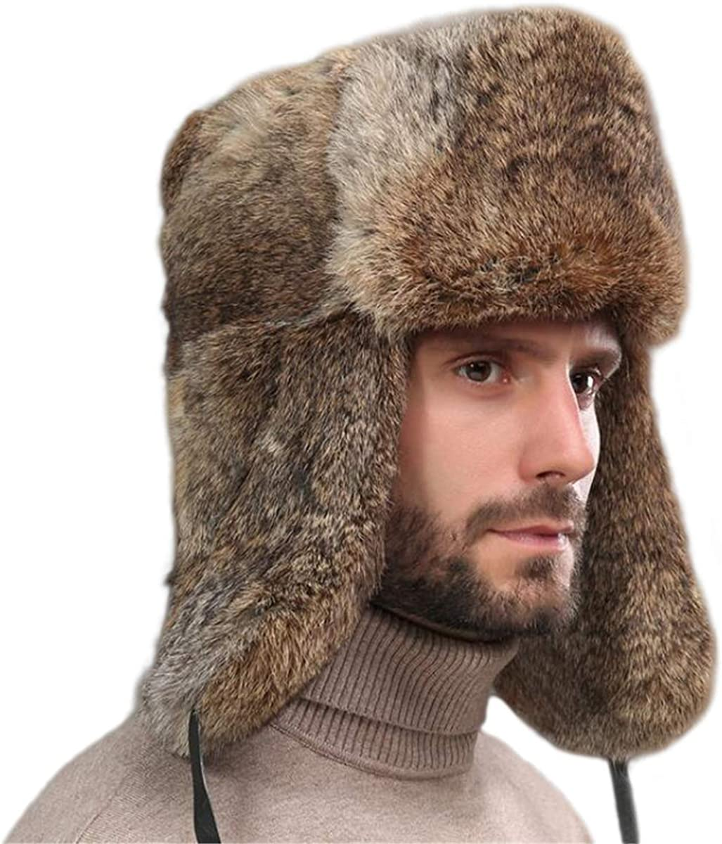 KAISHIN Unisex Winter Full-pelt Rabbit Fur Bomber Hats Russian Ushanka Hats for Men Women Cotton Layer Skiing Hats