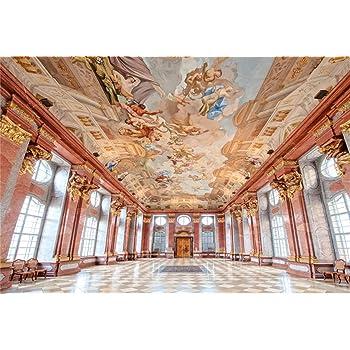 New Vintage European Palace Interior Vinyl Photography Background Luxurious Golden Panel Wall Plaid Tile Floor Backdrop Architecture Historical Wedding Shoot Studio Props-7x5FT