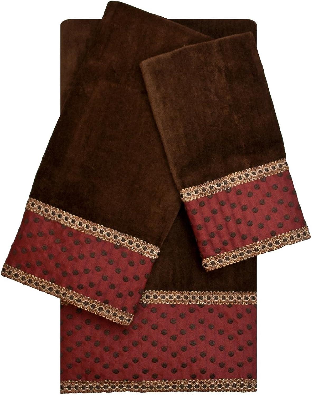 Sherry Kline Dorchester Brown 3-Piece Decorative Embellished Towel Set