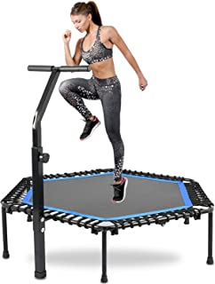 Advwin Foldable Mini Trampoline, 50 ″ Fitness Rebounder with Adjustable Handle Bar, Silent Cardio Exercise Trampoline for ...