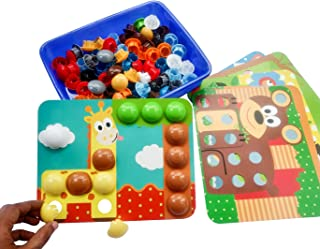 GoAppuGo Wild Animals Activity Toys for 2 3 Year Old Boys Girls Kids, 10 Animals Puzzle Cards, 50+ Jumbo Buttons, Educatio...
