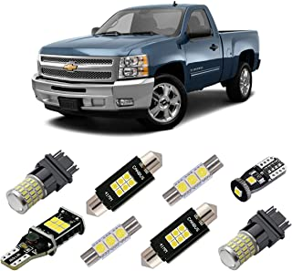 iBrightstar Super Bright Canbus LED Bulbs Package Kit for 2007-2013 Silverado Interior License Plate Cargo Back Up Reverse Lights, Xenon White