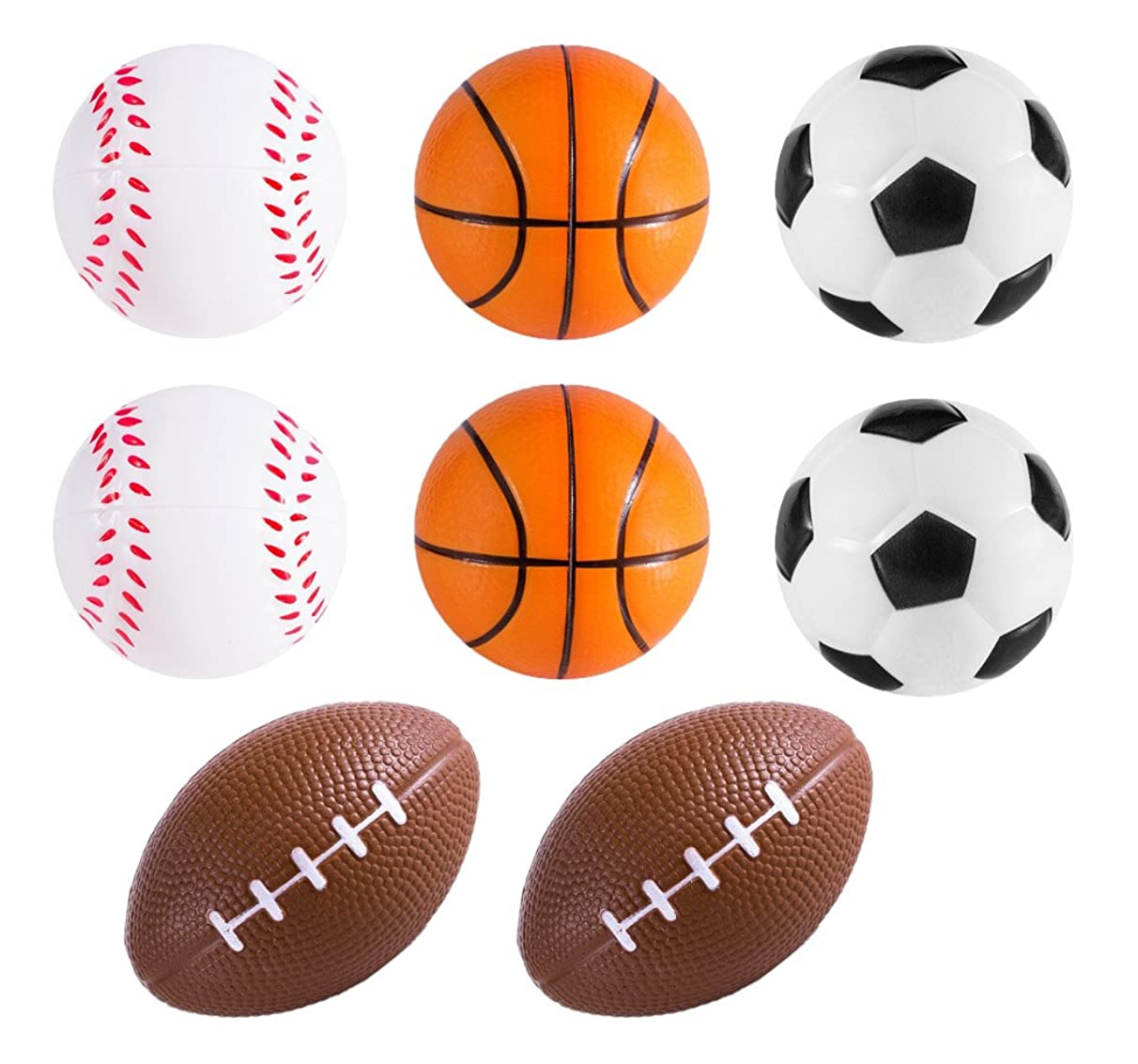 Black Duck Brand Set of Sports Themed Mini Stress Balls Squeeze Foam for Anxiety Relief, Relaxation, Party Favor Toy, or Gifts!