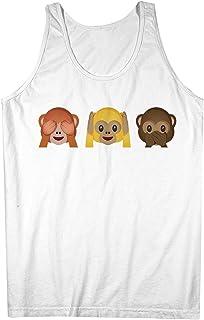 Monkey Emoji Smileys Fun おかしいです Smiley Face 男性用 Tank Top Sleeveless Shirt