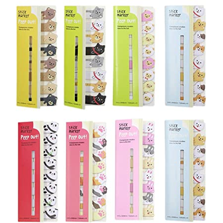 BabyPrice (8 Packs) Cute Animals Sticker Bookmarks Memo Pad Sticky Notepaper Sticky Notes Page Flags Self-stick Tab Bookmark Marker Pad Cartoon Office School Supplies