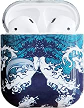 2019 Newest AirPods Case,J.west Unique Ocean Blue Pattern Print Design Durable Glossy Hard Plastic Shockproof Cover Slim Fit AirPods Accessories Kit Compatiable with AirPods 1st/2nd Charging Case Wave