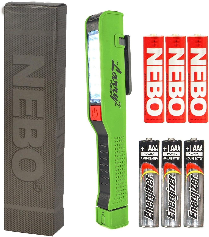 Bundle  NEBO Larry 2 Pocket Work Light LED Flashlight 6054 Lime Green w  3X AAA Energizer Max Alkaline Batteries