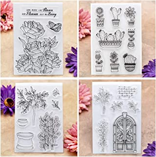Kwan Crafts 4 Sheets Different Style Flowers Cactus Plant Clear Stamps for Card Making Decoration and DIY Scrapbooking