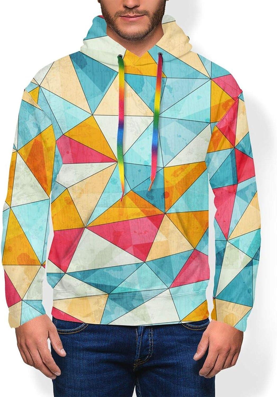 Vintage Colored Triangles Pattern Men'S Hoodie Pullover Fleece Sweatshirt Soft Warm Boys' Jacket