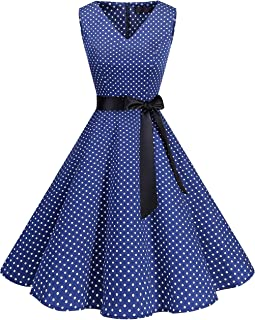 Bridesmay Donna Halloween Anni '50 Abiti Vintage Collo a V Retro Cocktail Audrey Vestito