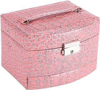 Caja de Joyería de 3 Capas con Espejo y Mango Caja Joyero para Collar Anillos Collar Broches Pulsera(Pink)