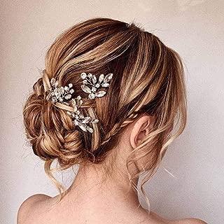 Asooll Bride Wedding Hair Pins Bridal Crystal Hair Piece Wedding Flower Hair Accessories for Women and Girls Pack of 3(Silver)