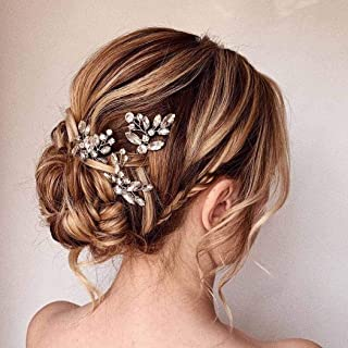 Asooll Bride Wedding Hair Pins Bridal Crystal Hair Piece Wedding Flower Hair Accessories for Women and Girls Pack of 3(Silver)