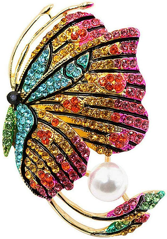 Topsee Large Crystal Filigree Fashion Statement Butterfly Brooch Pin for Women Gold and Sliver Plated Brass